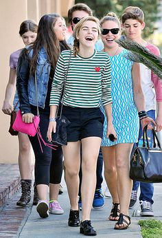 Kiernan Shipka looks like she stepped off a teen movie hanging with friends after lunch in West Hollywood Apr. 6