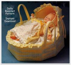 This adorable baby doll bassinet is 14 inches. Just right for a small baby doll for that special little girl.  Measurements: 11 inches x 11 3/8 inches x 14 inches.  You will need clear 7 count plastic canvas, yellow 7 count plastic canvas, a tapestry needle, a sewing needle and thread, narrow white and yellow ribbon, pre-gathered eyelet lace about 2 yards), worsted weight yarn. [All amounts of materials listed in the pattern]  Pattern includes color picture, color key and graphs and orig...