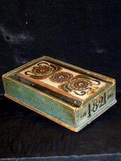 candle box from a school of artists in Lima, Dalarna.Dated 1821