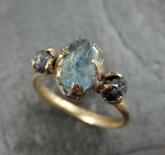 Raw Uncut Aquamarine Diamond Gold Engagement Ring by byAngeline