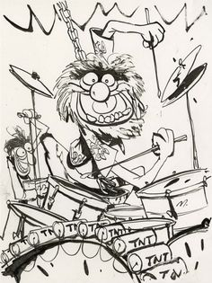 Animal from the Muppets with a more complex and detailed use of the Sumi style. Drummer Tattoo, Drums Cartoon, Sesame Street Coloring Pages, Pencil Drawings, Art Drawings, Drums Art, Fraggle Rock, The Muppet Show, Muppet Babies