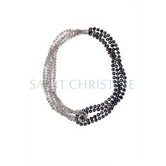 Freshwater Pearl with Crystal Beads Short Necklace Black at Saintchristine.com