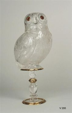 Rock Crystal vessel of an owl, Italy (Milan), ca 1580-1585 with Email and Gold: