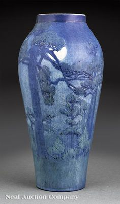 Rare and Monumental Newcomb College Art Pottery Scenic Landscape Vase, 1925, decorated by Henrietta Bailey in the Tall Pine and Moon design