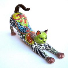 Mexican Pottery Stretching Cat Sculpture Animal Figure 17 1 2"
