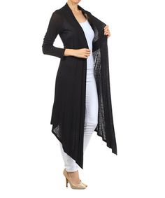 Look what I found on #zulily! Black Slub Open Duster by Pretty Young Thing #zulilyfinds