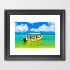 Colorful tropical waters and a little yellow boat on the Gulf of Mexico off the Yucatan.