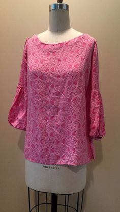 Lilly Pulitzer Women's Pink 100% Silk Blouse Top Sz 8 #LillyPulitzer #Blouse