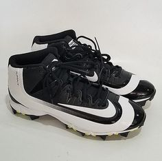 b4358cf69be3 Nike Huarache BSBL Baseball Rubber Cleats Size 12 Black White CB7  Nike