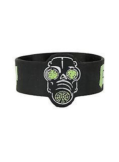 912768daeec0 Brace(let) yourself    Green Day Gas Mask Die Cut Rubber Bracelet Green