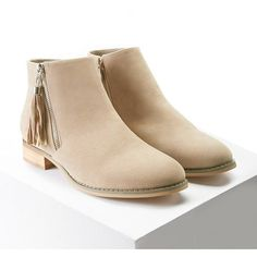 Forever21 Faux Suede Chukka Boots ($28) ❤ liked on Polyvore featuring shoes, boots, ankle booties, ankle boots, beige, beige ankle boots, faux suede booties, beige boots, beige booties and platform ankle boots
