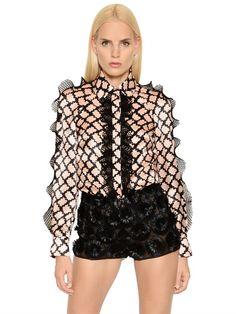 EMANUEL UNGARO Lattice Print Ruffled Silk Satin Shirt, Pink/Black. #emanuelungaro #cloth #shirts