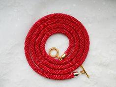 Red Bead Crochet Transformer Lariat Beaded Rope by goodhandSakura