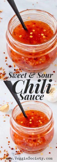 Vegan Sweet and Sour Chili Sauce Recipe with Garlic and Tapioca Flour. Like Trader Joe's copycat but better ⭐️⭐️⭐️⭐️⭐️ | VeggieSociety.com @VeggieSociety #vegan #sauce #chiliSauce