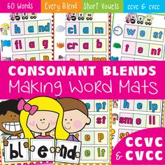 Blends - Making Words Mats - Consonant Blends - ccvc and cvcc Print and laminate these work mats to help students learn to read, write or make cvcc and ccvc words. The 15 cards have been grouped with a short vowel sound focus. Students will use magnetic letters, letter