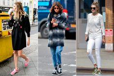 Veronika Heilbrunner, Alexa Chung and Gigi Hadid wearing Adidas Gazelle