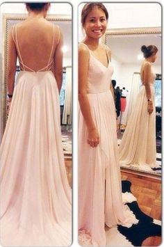 Sexy Chiffon Prom Dress,Floor Length Spaghetti Straps Prom Gown,V Neck Light Pink Evening Dresses,Open Back Prom Dress,Party Dresses, Evening Dresses,Prom Dresses