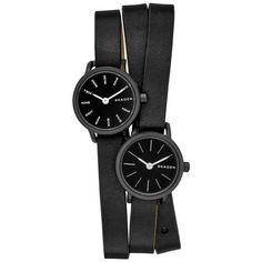 Skagen Black Ladies Hagen Black Dual Time Watch (1.385 HRK) ❤ liked on Polyvore featuring jewelry, watches, black, skagen, black leather wrist watch, black jet jewelry, skagen wrist watch and skagen watches