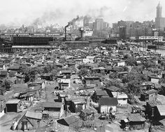 James P. Lee. Homeless shantytown known as Hooverville, foot of S. Atlantic St. near the Skinner and Eddy Shipyards, Seattle, Washington, June 10, 1937. University of Washington Libraries. Special Collections Division..