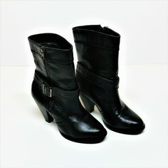 cb22c98bf12 womens ladies fiore boots block heel size uk 4 side zip fastening + strap  black