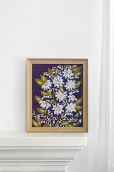 vintage purple crewel daisy flower embroidery framed by simplychi