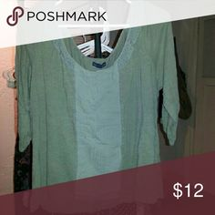 AE Olive Peasant Top American Eagle Outfitters scoopneck 3/4 banded sleeve loose top American Eagle Outfitters Tops