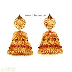 Gold For Jewelry Making Gold Bridal Earrings, Gold Earrings Designs, Jhumka Designs, Dangle Earrings, Indian Gold Jewellery Design, Jewelry Design, Gold Jewelry Simple, Mango Necklace, Gold Necklace