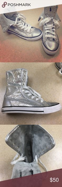 Fur-lined Silver Sequin Sneakers Adorable sequin high top sneakers! Very similar to Converse All-Star. High top rolls down halfway & can be secured with the snap. Lined with a very soft gray fur inside, & gorgeous silver sequins outside. In excellent condition. Worn once! Gotta Flurt Shoes Sneakers