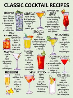 Beste Cocktails, Cocktails Bar, Classic Cocktails, Cocktail Drinks, Cocktail Tequila, Simple Cocktail Recipes, Popular Cocktails, Vodka Mixed Drinks, Easy Mixed Drinks