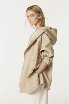 The parka get a chic upgrade in a beautiful linen cotton pique. Style this sporty, chic layer over everything from denim to wide leg suit pants. Country Road Spring 2014