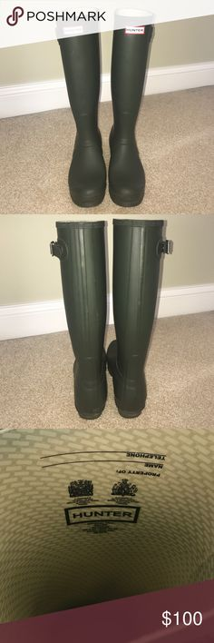 """Matte Green Hunter Boots """"Original tall"""" hunter green matte Hunter Rain Boots. Worn a few times around campus but in overall great shape. There is part of the buckle that does have some minor damage, but willing to negotiate!! The boots still have a lot of life left to give 😊 Hunter socks included!! Hunter Boots Shoes Winter & Rain Boots"""