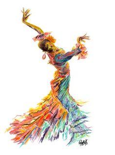Flamenco Dancer Print - Flamenco Dancing Print from my Flamenco Dancer watercolour painting titled 'FUEGO DANCE'