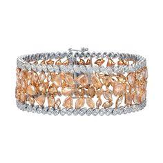Auriya 18k Two-Tone Gold 29 3/4ct TDW Round and Fancy-Shape Diamond Fashion Bracelet (Fancy Brownish Pink, SI1-SI2) (Bracelet), Women's, Size: 7.5 Inch