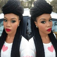 Love her thick Senegalese twists! Awesome make-up too!