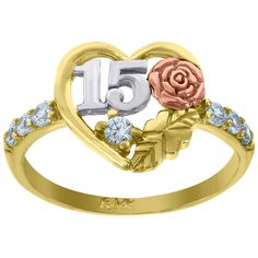 Gold Womens Tri-color CZ 15 Anos Rose Heart Quinceanera Ring BandItem Number - from Two-Tone W/Y GoldSet with Cubic Zirconia that is white in color. Quince Ideas, Sweet 15, Quinceanera, Beauty And The Beast, Band Rings, Heart Ring, Rose Gold, Color, Jewelry