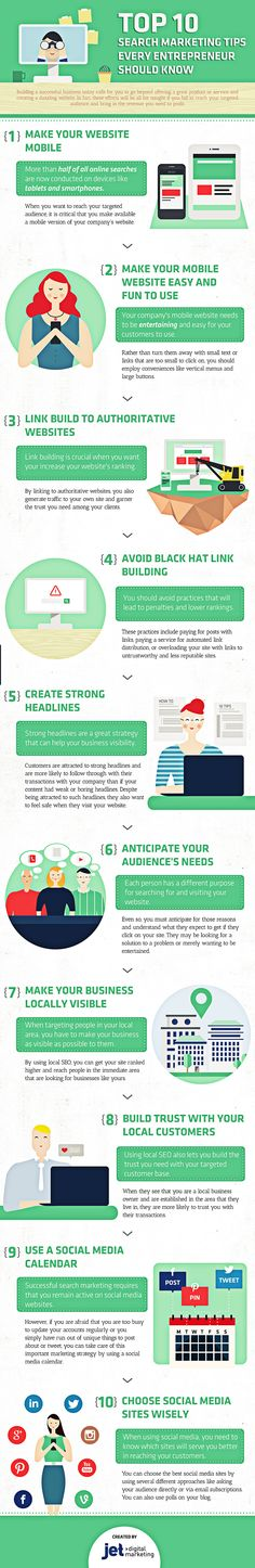 Top 10 Search Marketing Tips Every Entrepreneur Should Know - infographic
