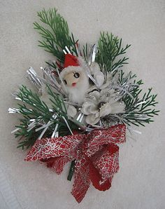 Vintage Christmas Corsage Spun Cotton Santa and Flowers