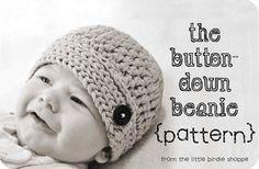 The Button-Down Beanie Crochet Hat Pattern Babies Boys Girls w/ Flower. $4.00, via Etsy.