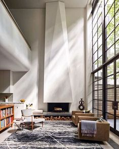 Sculptural fireplace in an Upper West Side townhouse by Rees Roberts + Partners. Photo by Ty Cole.
