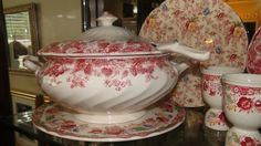 Rare Johson Bros Strawberry Fair Soup Tureen, sitting on a Dorchester Cake plate, next to Winchester Egg Cups, framed by an Old English Chinz Dinner Plate ♥