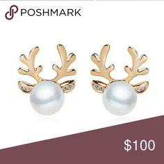 Faux pearl and antler earrings Pierced earrings. Gold tone. Faux pearl deer antlers.  Limited quantities!!! poshjeepgirl Jewelry Earrings