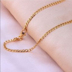Gold Plated Chain For Men & Women ( 24 Inches ) 100% New! Jewelry Necklaces