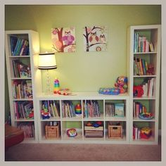 Expedit playroom shelving: