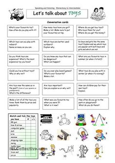 This worksheet contains 18 conversation cards and a matching exercise with pictures. The cards can be cut out if desired and be used as conversation questions. Can be used with both young learners and teenagers (elementary to intermediate).  - ESL worksheets