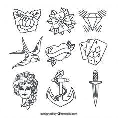 Linear tattoos with skull elements vector illustration Flash Art Tattoos, Tattoo Flash Sheet, Kritzelei Tattoo, Doodle Tattoo, Tattoo Outline, Tattoo Salon, Stencils Tatuagem, Tattoo Stencils, Old School Tattoo Designs