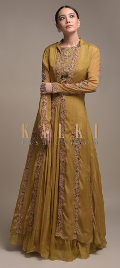 Buy Online from the link below. We ship worldwide (Free Shipping over US$100)  Click Anywhere to Tag Ochre-Yellow-Skirt-And-Crop-Top-With-Matching-Long-Jacket-Having-Floral-Print-Online-Kalki-Fashion