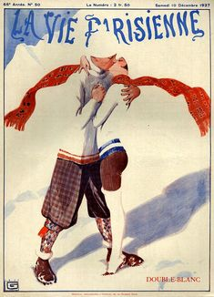 "Illustration by George Leonnec for La Vie Parisienne December 1927. Personally I'm more interested in les chaussettes Parisienne! Also, how cute is ""chaussettes"" - the French word for socks?"