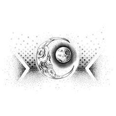 Skull Moon Tattoo Drawing