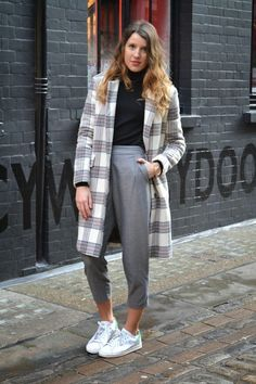 Blogger Gemma Talbot wears an androgynous pair of high waisted trousers and check coat #AW14 #streetstyle #inspiration