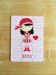 Personalized Valentine Girl Pirate Puzzle by jpurifoy on Etsy